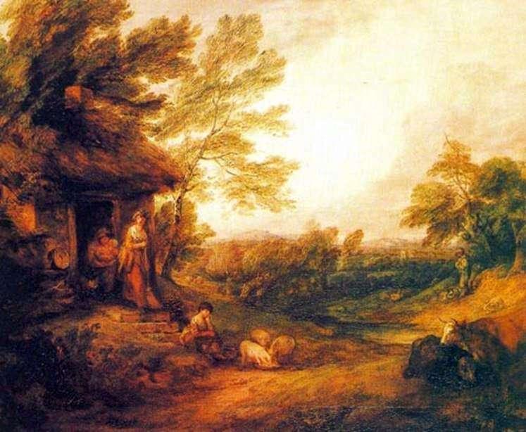 منزل ريفي مع الخنازير   توماس غينزبورو