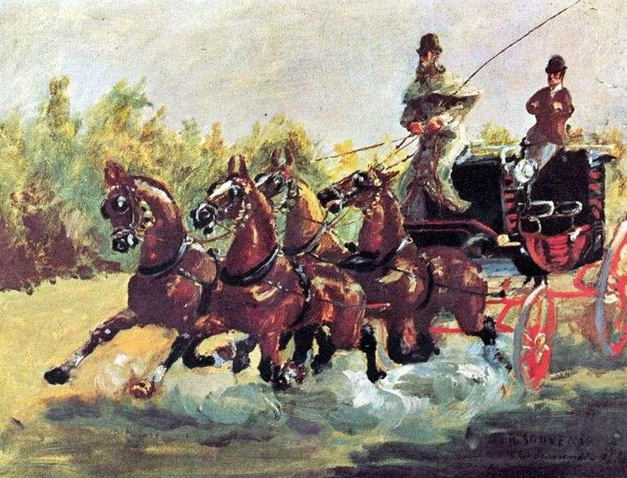 الكونت ألفونس دي تولوز لوتريك يحكم مزلقة أربعة خيول   هنري دي تولوز لوتريك