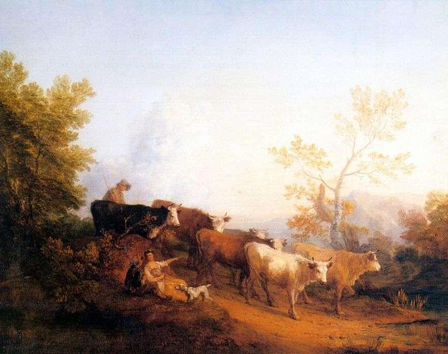 المشهد مع القطيع العائدين   توماس غينزبورو