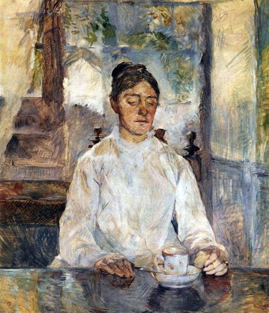 والدة الفنانة ، الكونتيسة أديل دي تولوز لوتريك في وجبة الإفطار   هنري دي تولوز لوتريك