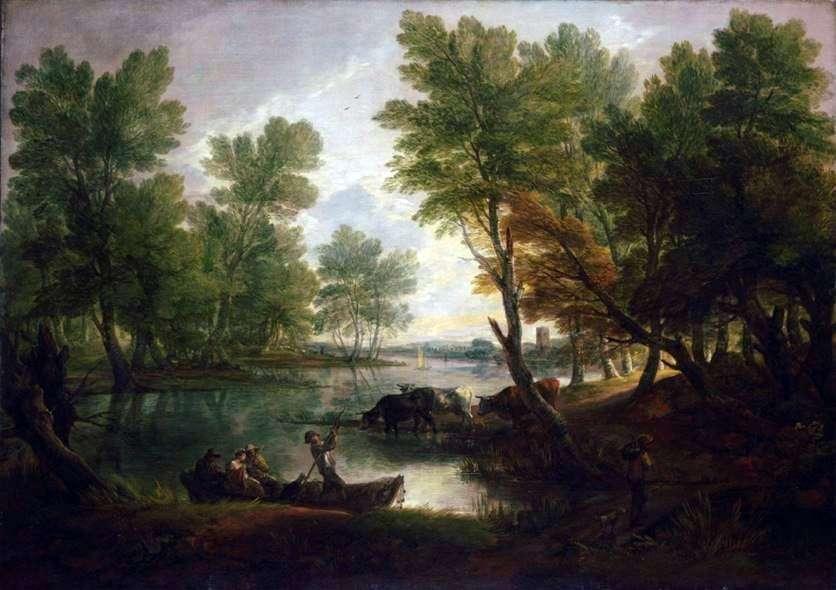 نهر المناظر الطبيعية مع شخصيات في القارب   توماس غينزبورو