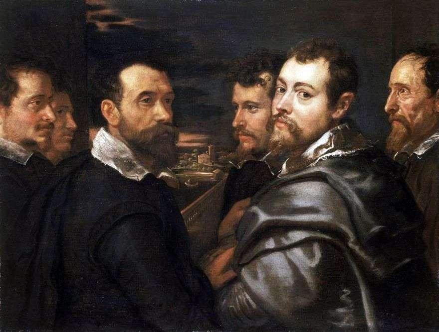 بورتريه ذاتي مع أصدقاء مانتوان   بيتر روبنز