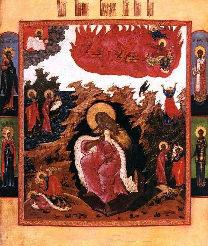 إيليا النبي في البرية بمشاهد الحياة وصعود الناري