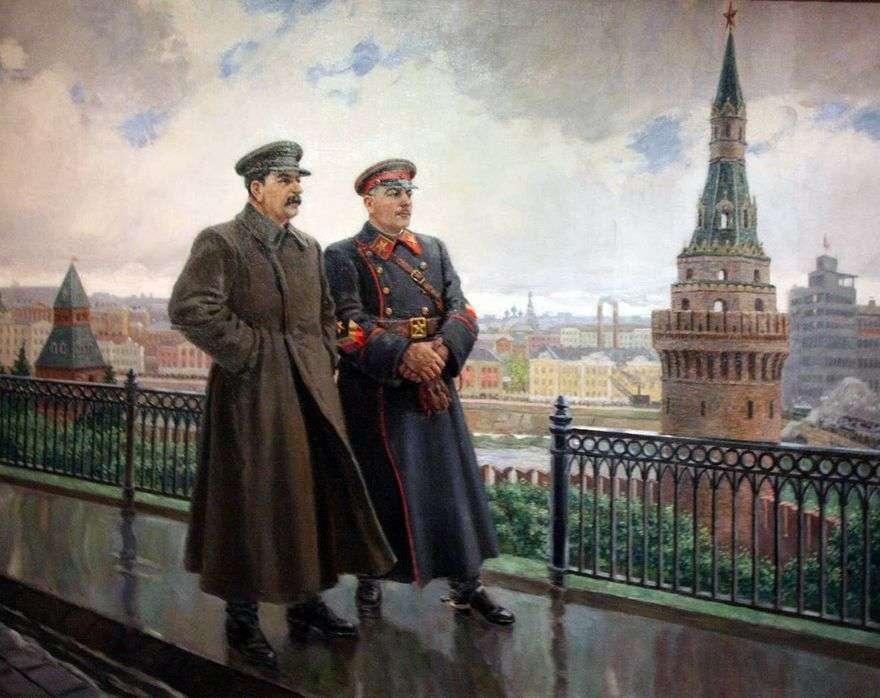 JV ستالين و K. يي Voroshilov في الكرملين   الكسندر جيراسيموف