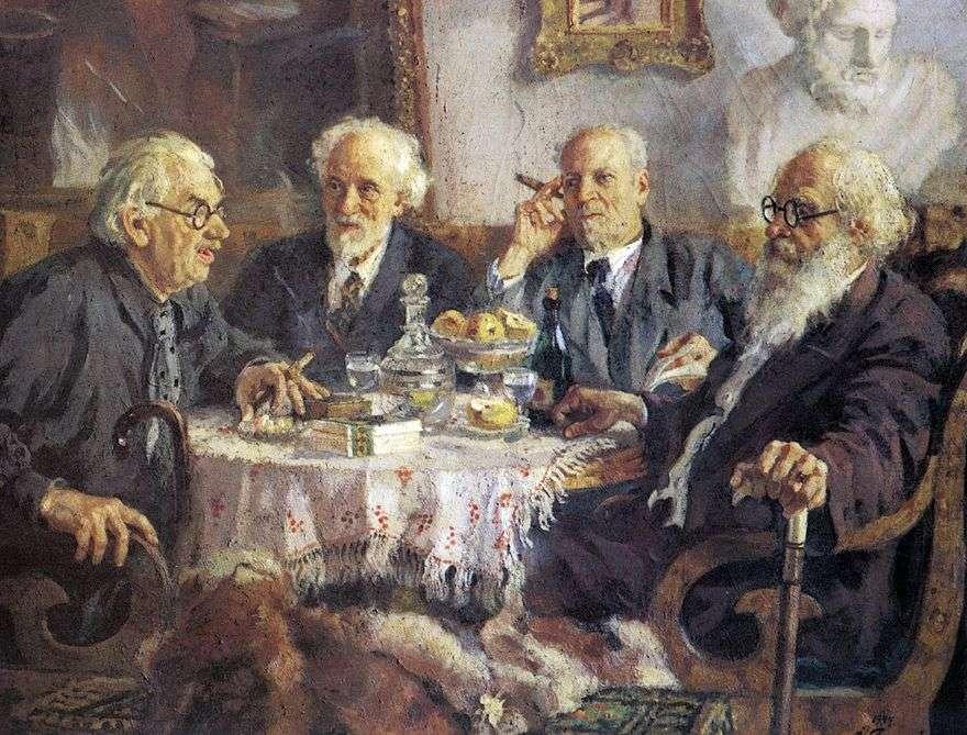 صورة لأقدم الفنانين السوفيت آي بافلوف ، ف. باكشيف ، ف. بيالينيتسكي بيروليا ، وف. ميشكوف   ألكساندر جيراسيموف