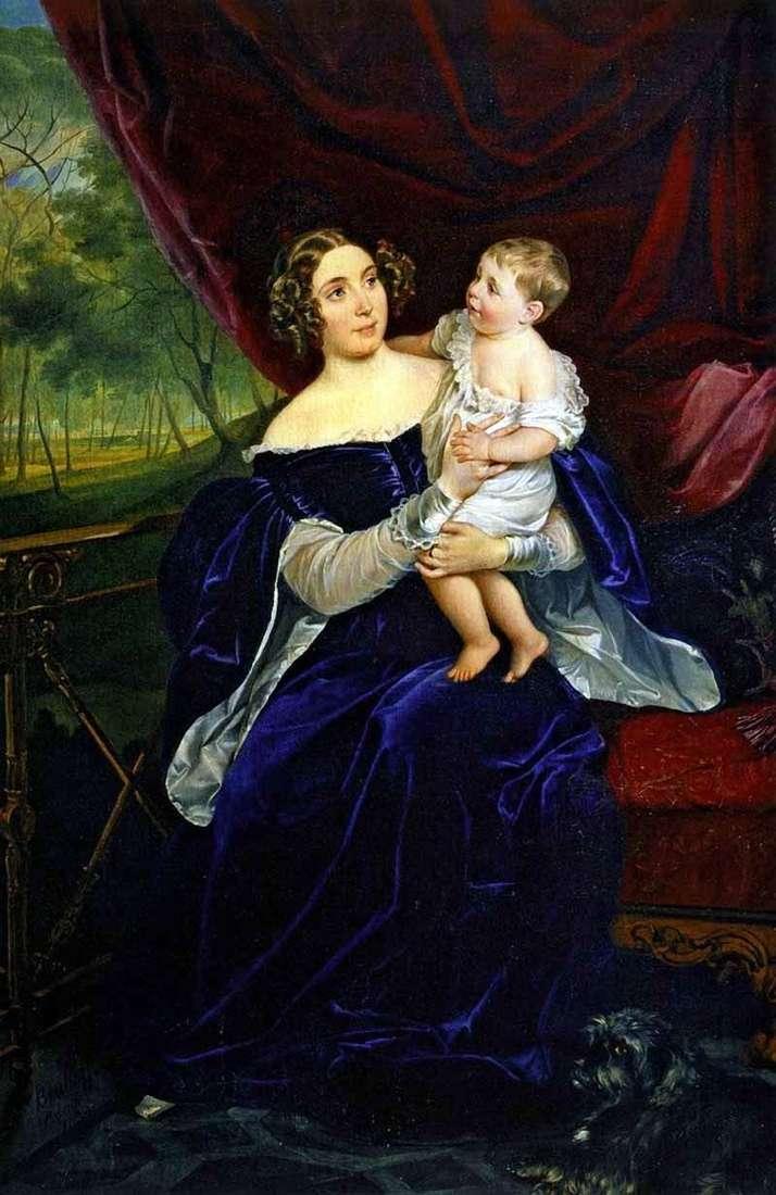 صورة O. I. Orlova Davydova مع ابنتها   كارل برايلوف