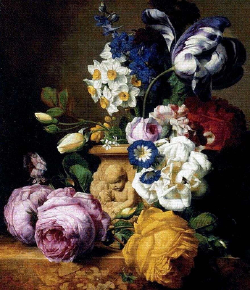 الورود ، والزنبق ، والدلافين ، والفاوانيا والنرجس البري في مزهرية   Charles Joseph Nowd