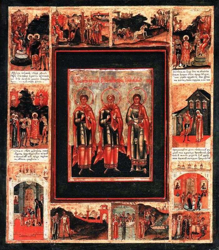 قام الوعظان المقدسان غوري وسامون و أبيب بإطار معيشية في 10 طوابع