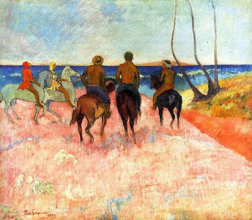 الدراجين على الشاطئ   بول غوغان