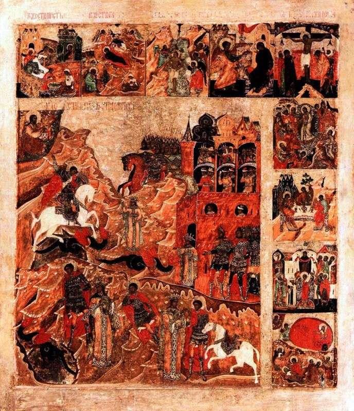 معجزة سانت جورج حول الثعبان ، مع 9 بصمات الأعياد