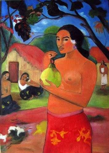امرأة تحمل ثمارها   بول غوغان