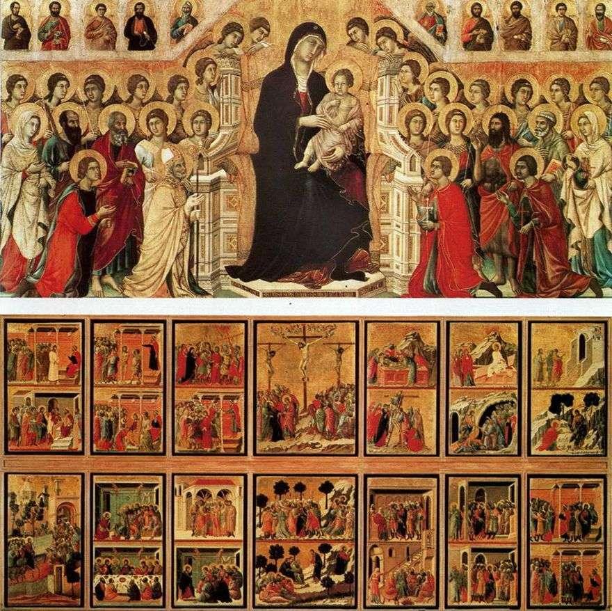 مادونا مع الملائكة والقديسين (Maestas)   Duccio di Buoninsegna