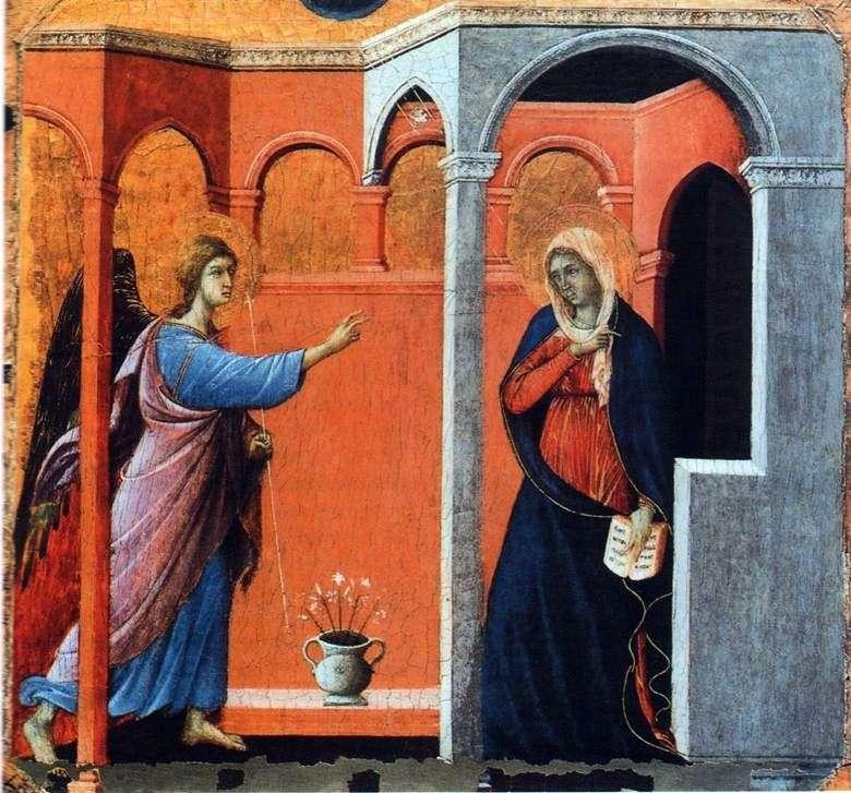 Maesta. البشارة   Duccio di Buoninsegna