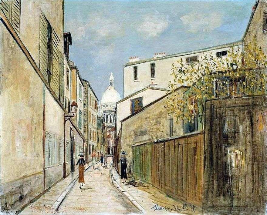كنيسة Sacré Cœur وشارع Rue Saint Rustic   Maurice Utrillo