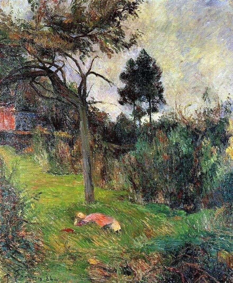 امرأة شابة ملقاة على العشب   بول غوغان