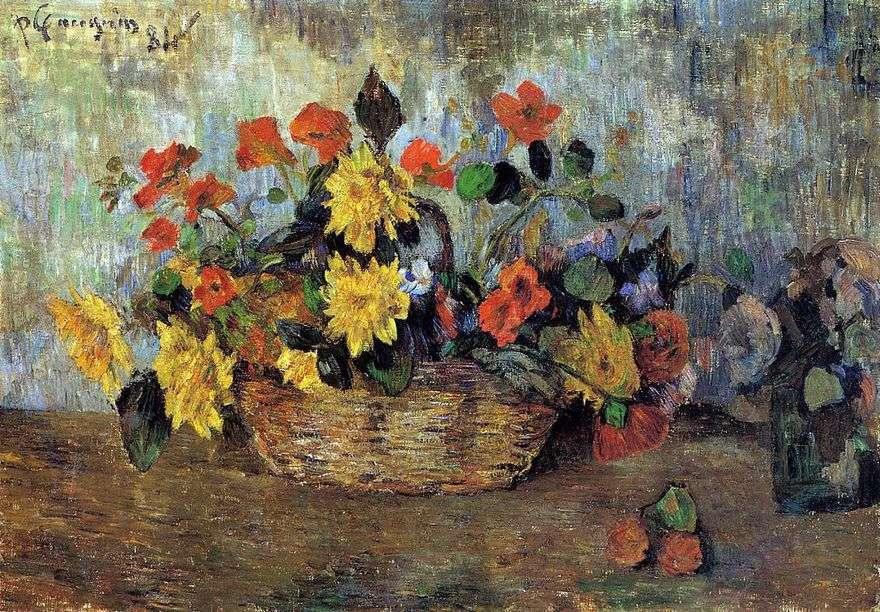 Nasturtiums و Dahlias in a Basket   Paul Gauguin
