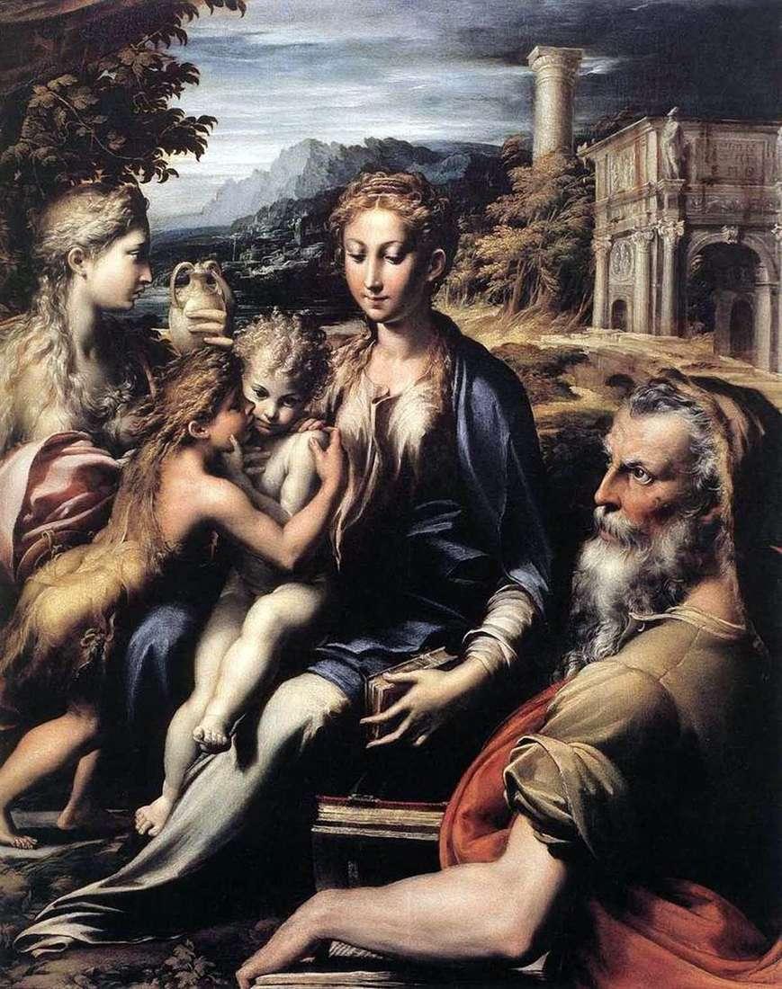 مادونا على العرش ، زكريا ، يوحنا المعمدان ومريم مجدلين   فرانشيسكو بارميجيانينو