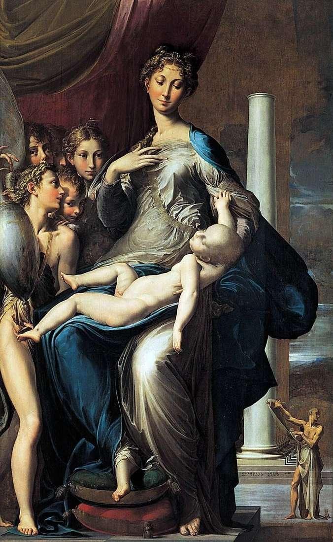 مادونا والطفل مع الملائكة والقديس جيروم   فرانشيسكو بارميجيانينو