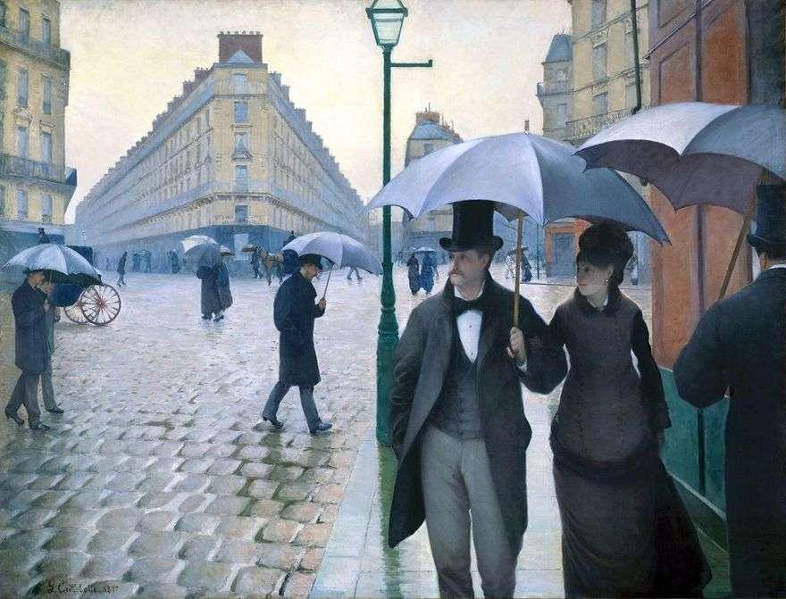 شارع باريس في طقس ممطر   غوستاف كايبوت