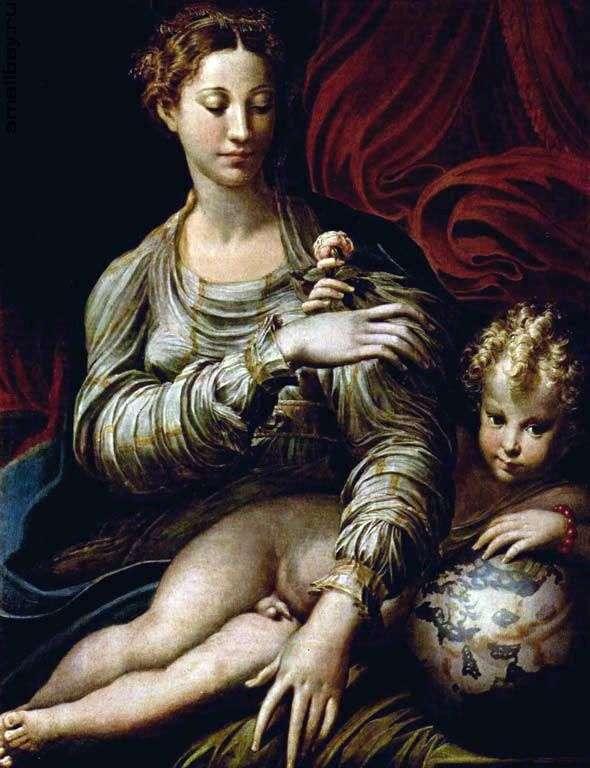 مادونا مع وردة   فرانشيسكو بارميجيانينو