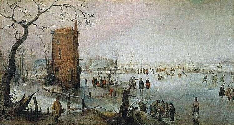 منظر للطبيعة الشتوي مع برج   هندريك أفركامب
