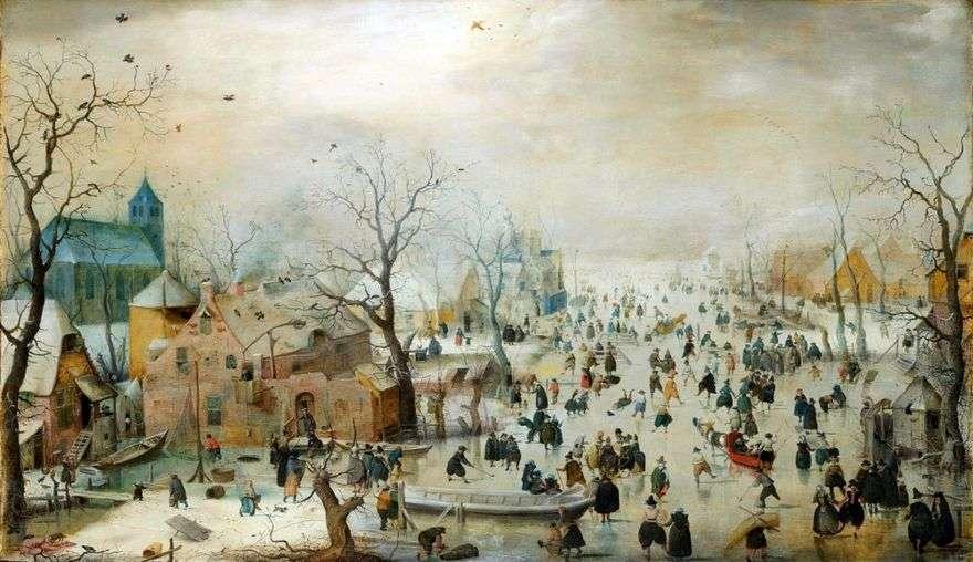 منظر للطبيعة الشتاء مع التزلج على الجليد   Hendrik Averkamp