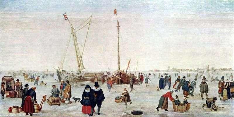 المناظر الطبيعية في فصل الشتاء مع المتزلجين   هندريك أفركامب