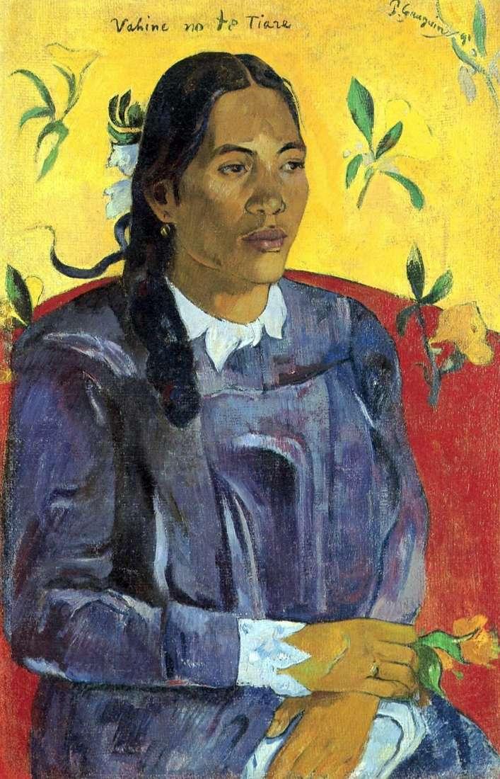 امرأة تاهيتية مع زهرة   بول غوغان