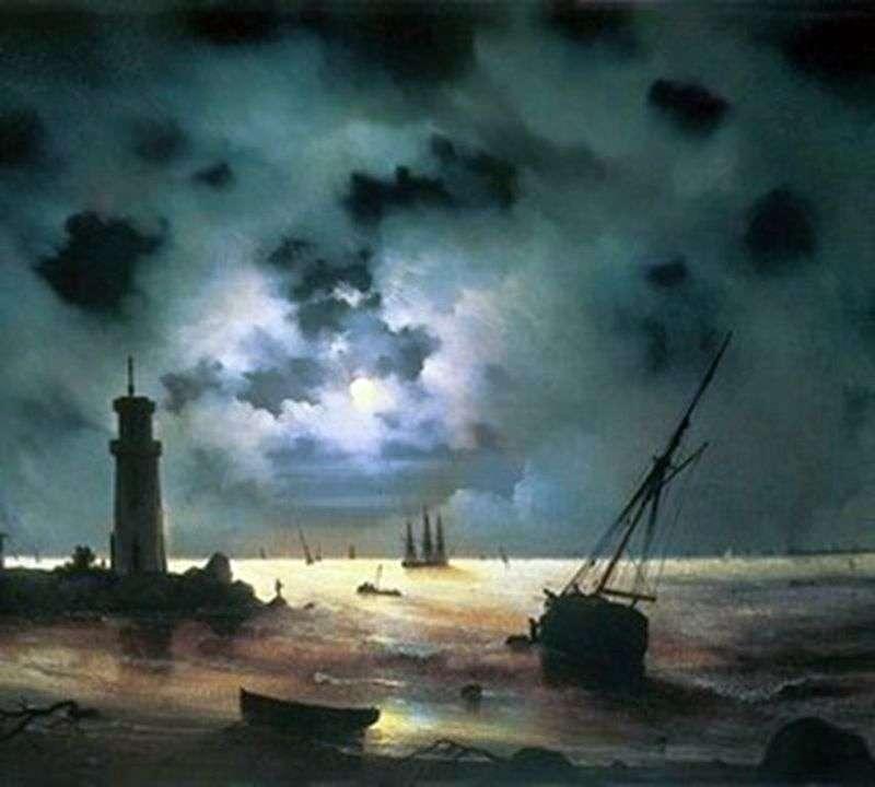 شاطئ البحر في الليل. في المنارة   إيفان إيفازوفسكي