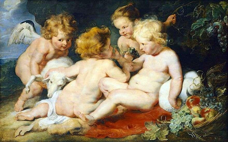 المسيح والقديس يوحنا مع ملاك وفتاة   بيتر روبنز