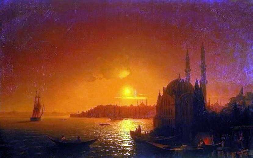منظر للقسطنطينية مع ضوء القمر   إيفان إيفازوفسكي