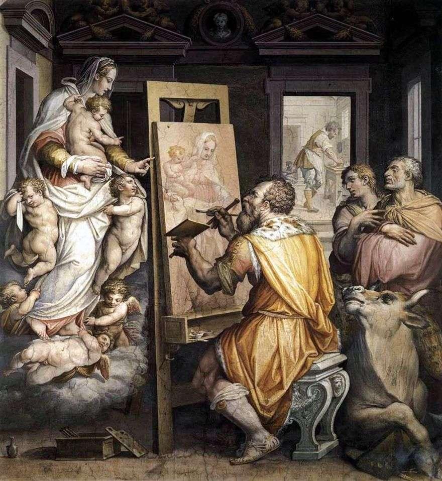 القديس لوقا يرسم صورة للعذراء   جورجيو فاساري