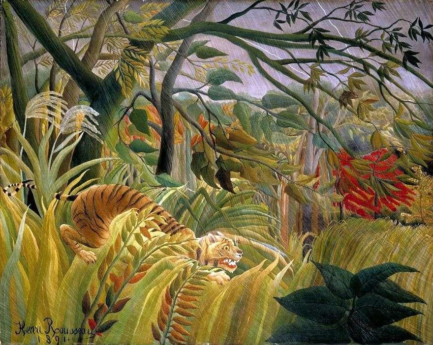 العاصفة في الغابة   هنري روسو