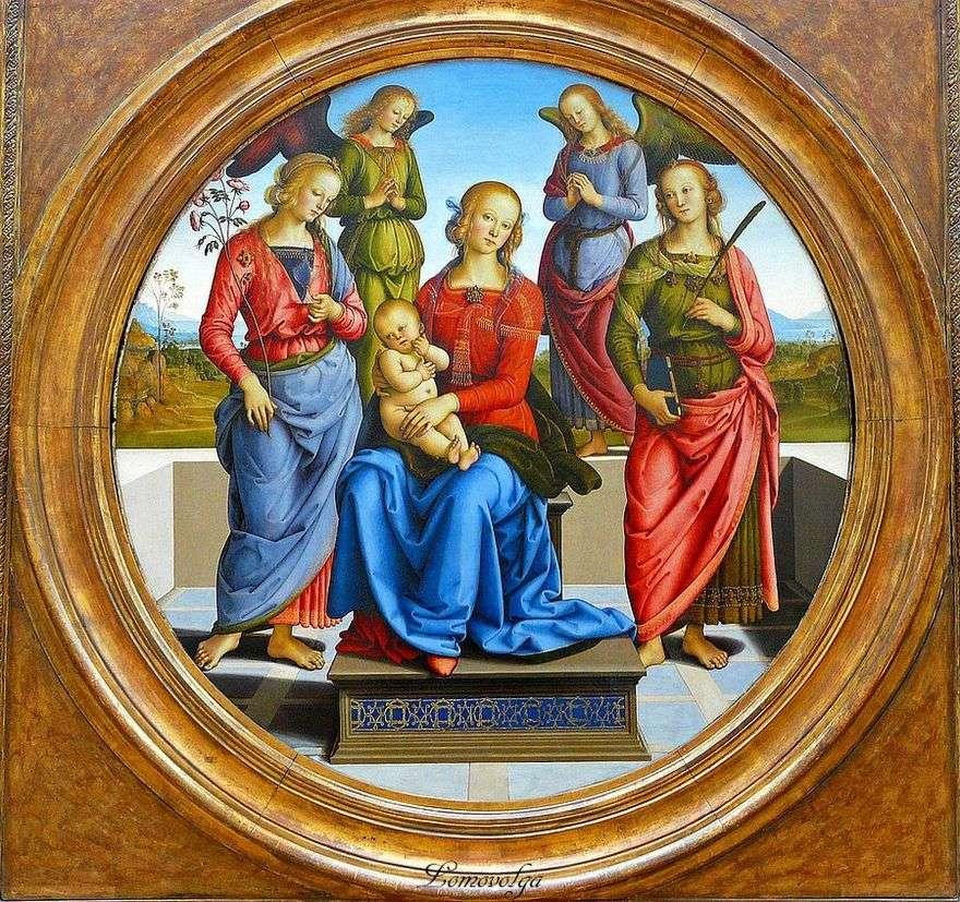 مادونا والطفل ، وتحيط بها الملائكة ، من SV. الورود والقديس كاثرين   بيترو بيروجينو