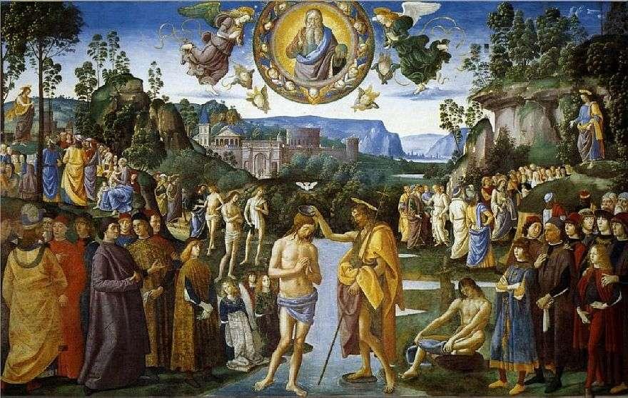 فريسكو معمودية المسيح   بيترو بيروجينو
