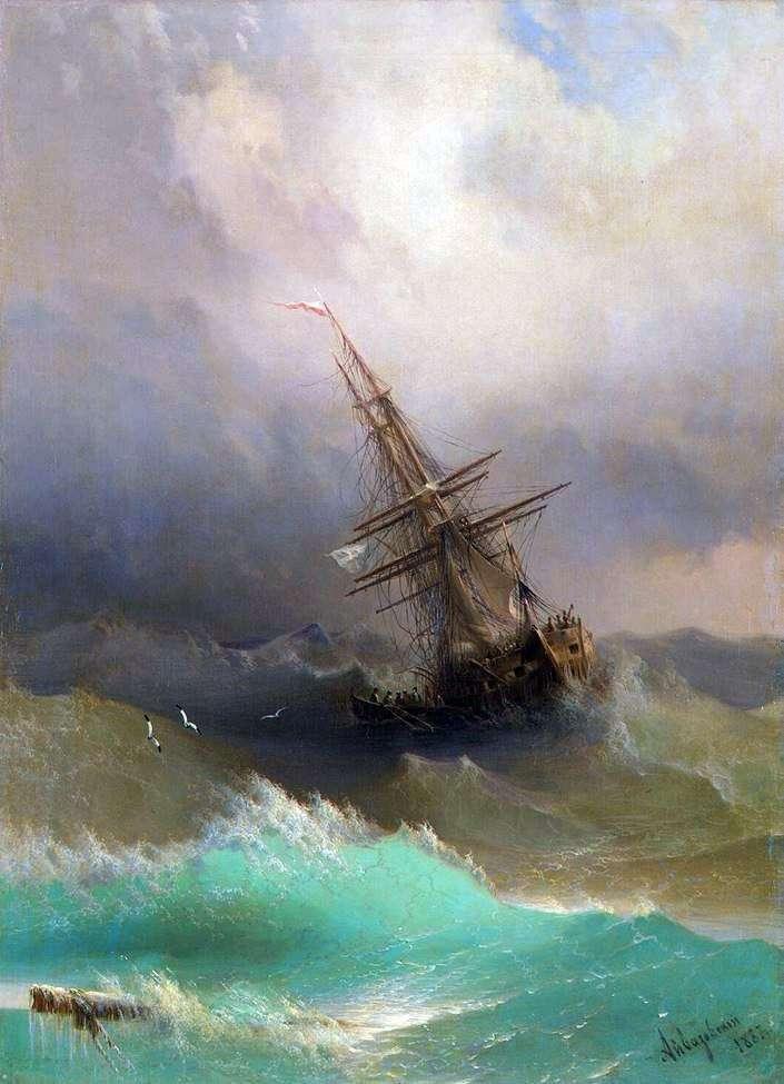 السفينة في منتصف بحر عاصف   إيفان Aivazovsky
