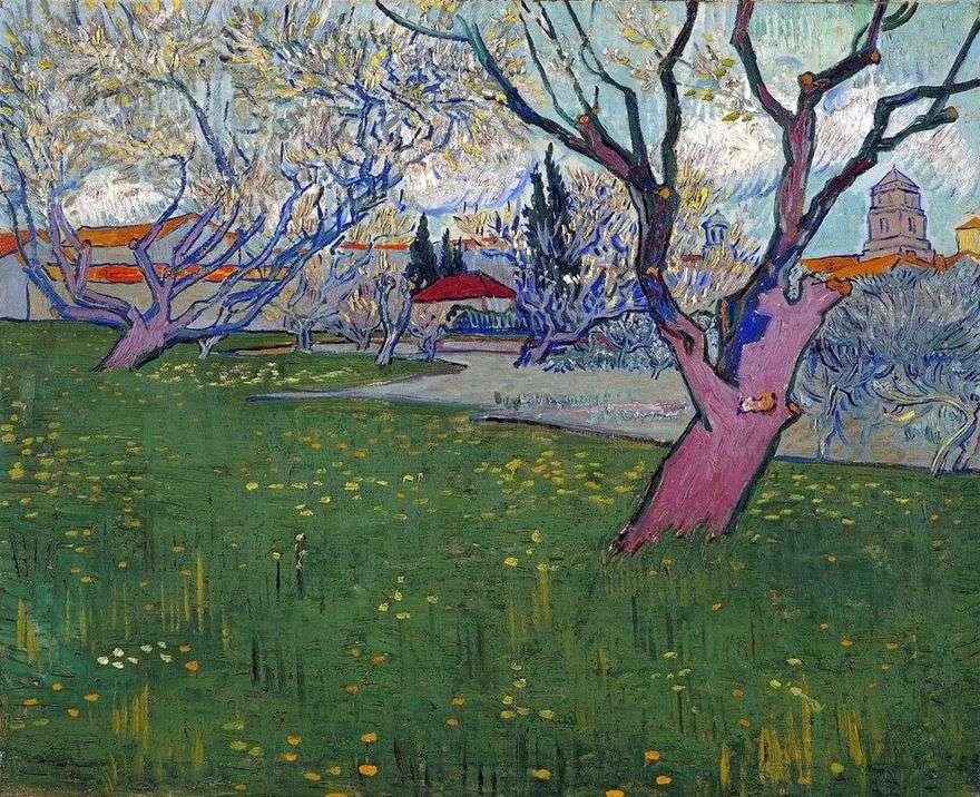 منظر لأرليس بين الأشجار المزهرة   فنسنت فان جوخ