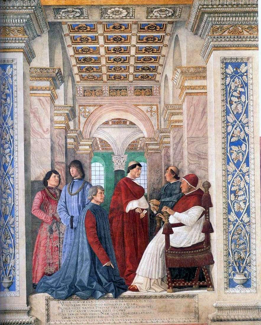 يعين البابا سيكستوس الرابع بلاتيني كوصي لمكتبة الفاتيكان   ميلوزو دا فورلي
