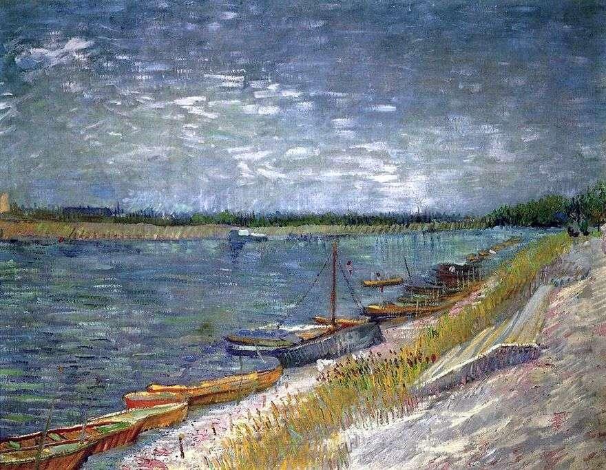 منظر النهر مع قوارب التجديف   فنسنت فان جوخ