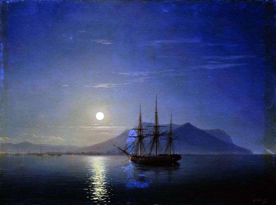 المراكب الشراعية قبالة ساحل شبه جزيرة القرم في ليلة مقمرة   إيفان Aivazovsky