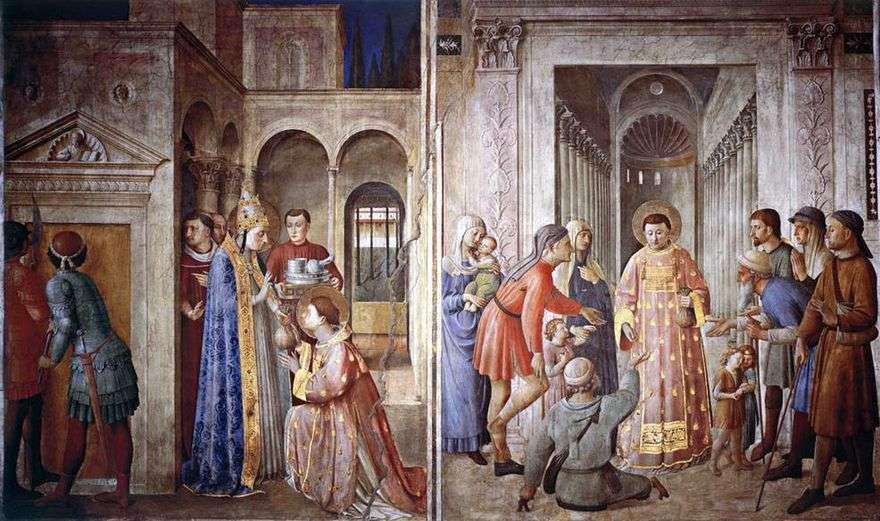 القديس لورنس ، الذي يأخذ كنوز الكنيسة ويوزعها على الفقراء   أنجيليكو فرا