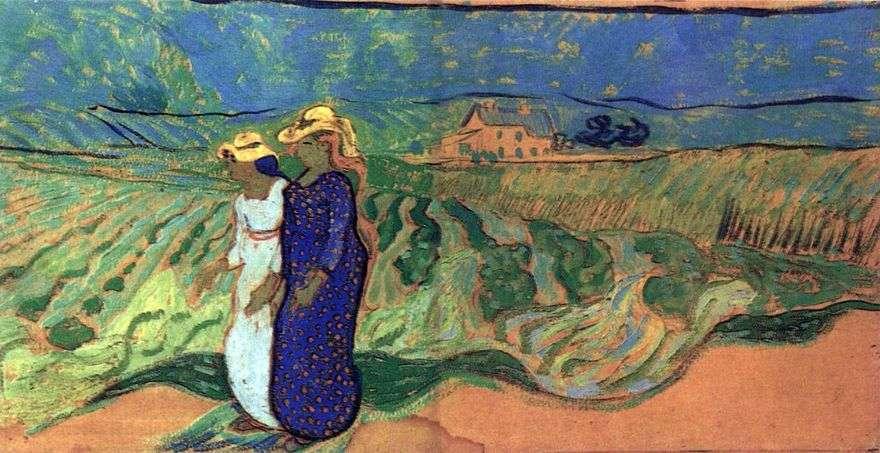 امرأتان تمشيان في أحد الحقول   فنسنت فان جوخ