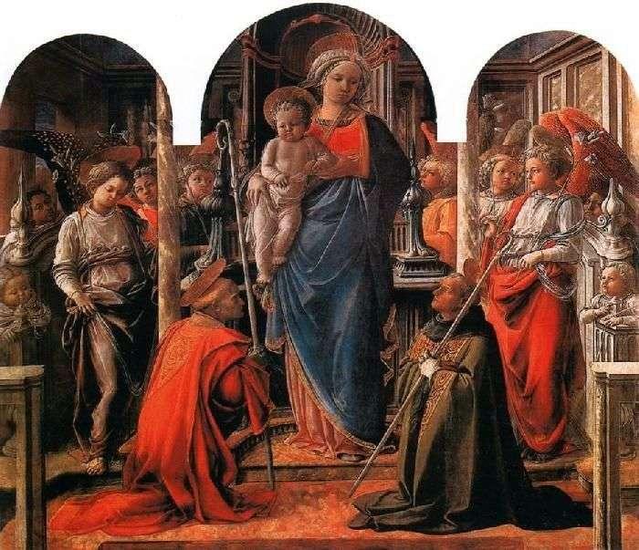 مادونا والطفل ، وتحيط به الملائكة ، مع القديسين فريديانو وأوغسطين   فيليبو ليبي