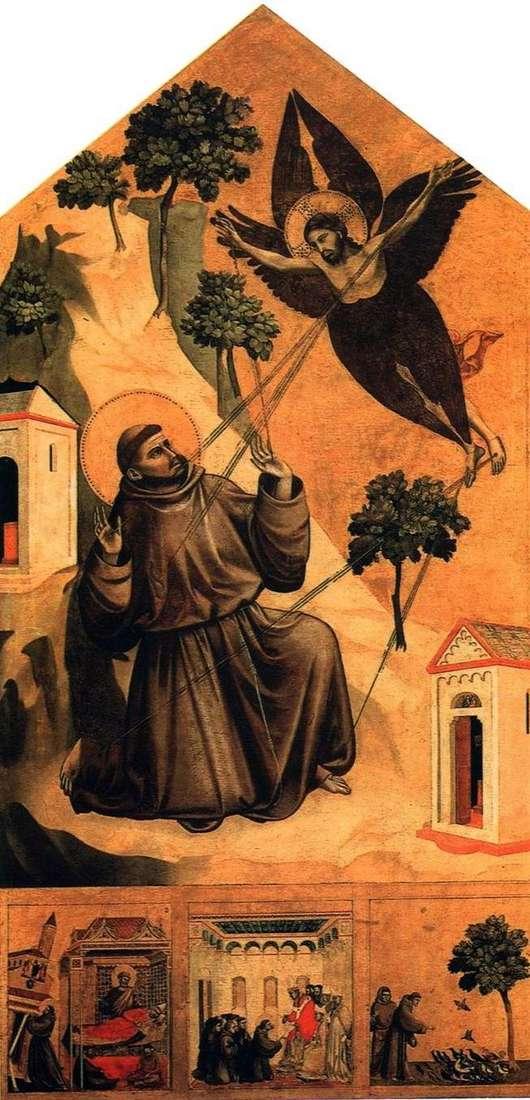 سانت فرانسيس ، تلقي الوصمة ، مع ثلاثة مشاهد من الحياة   جيوتو دي بوندون