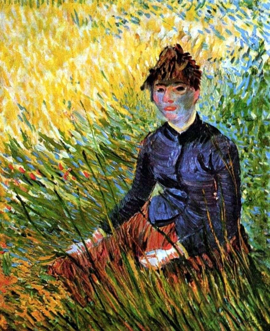 امرأة تجلس في العشب   فنسنت فان جوخ