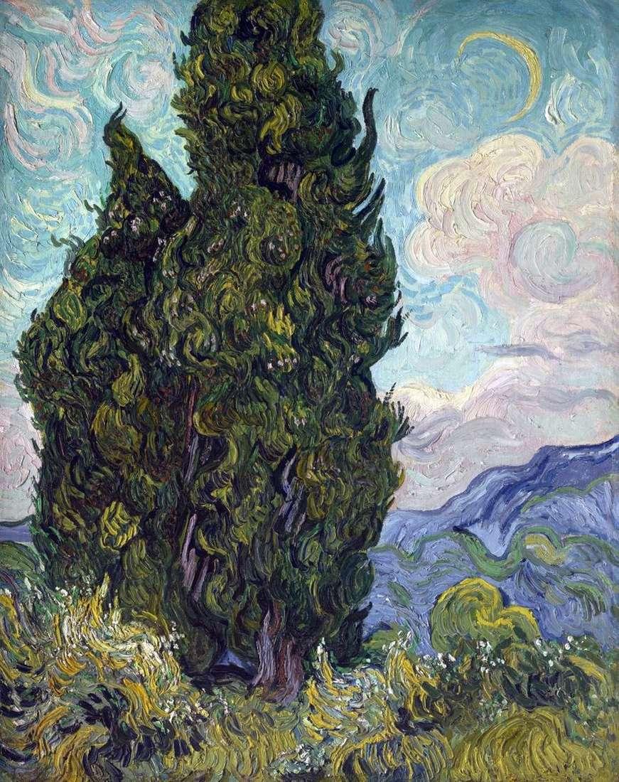 أشجار السرو   فنسنت فان جوخ