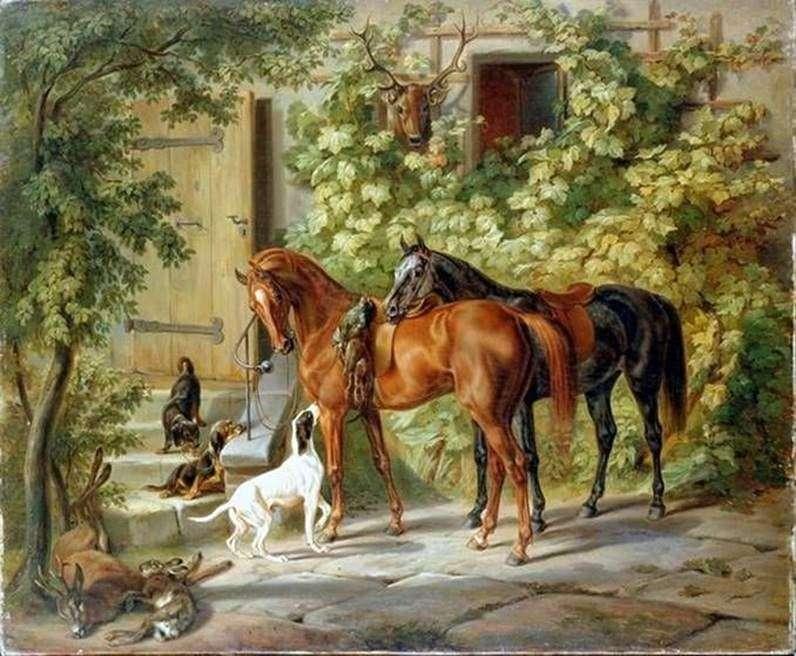 الخيول في الشرفة   آدم ألبريشت