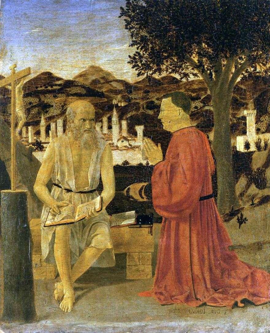 القديس جيروم مع المانح   بييرو ديلا فرانشيسكا