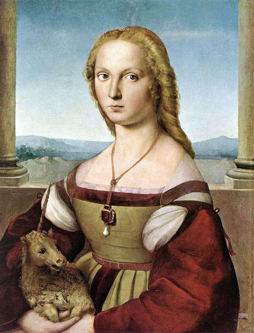 سيدة مع يونيكورن   رافائيل سانتي