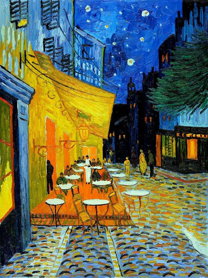 مقهى الشرفة الليلية   فنسنت فان جوخ